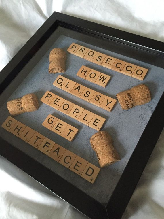 Funny sweary prosecco quote frame- can be adjusted if you wish to the wine lovers choice of tipple Choice of either vintage or modern letter tiles Choice of backgrounds Choice of black or white frame Frames are 23cm squared