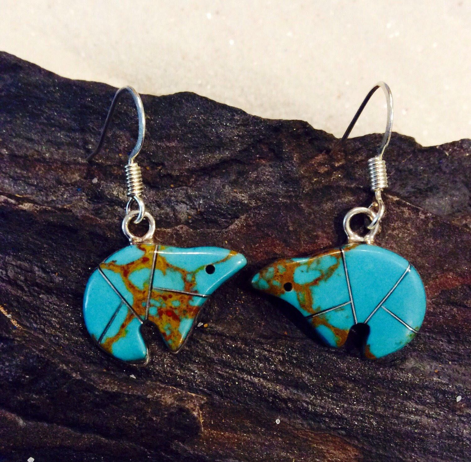 Native American Sterling Silver Zuni Tribe Bear Fetish Turquoise Dangle Earrings by AZNativeTreasures on Etsy