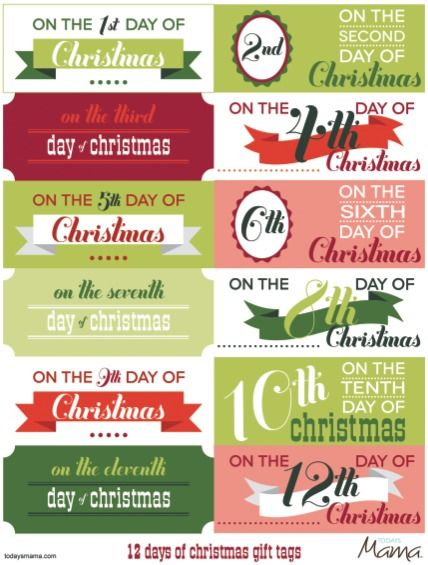 photograph regarding 12 Days of Christmas Printable named Printable 12 Times of Xmas Tags Vacation Decor
