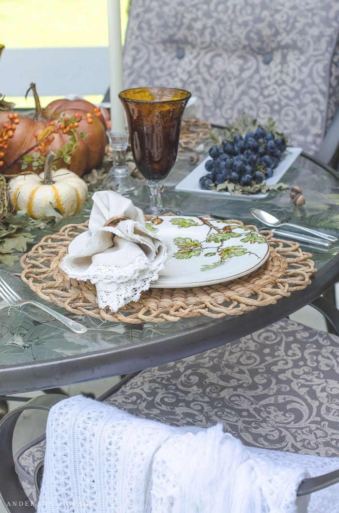 Outdoor Fall Tablescape Fall tablescapes, Autumn dining