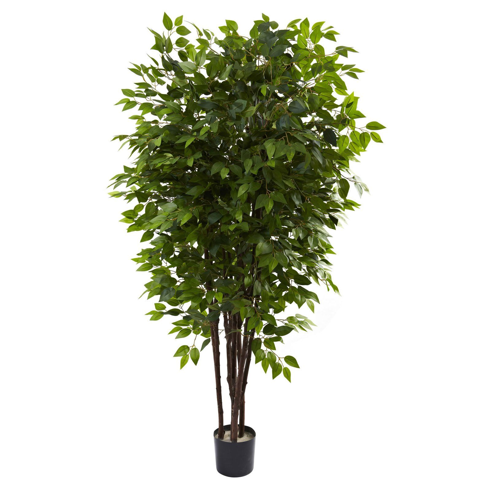 Nearly Natural 7 Ft Deluxe Ficus Silk Tree Potted Trees