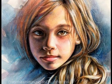 Watercolor Colored Pencil Portrait Speed Painting By Ch Karron