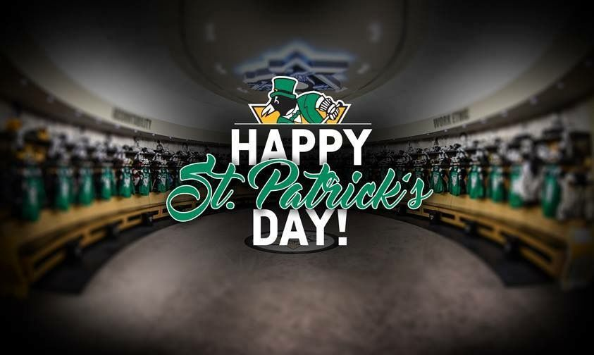 save off 2e8e4 a4923 Pittsburgh Penguins locker room- Happy St. Patrick's Day ...