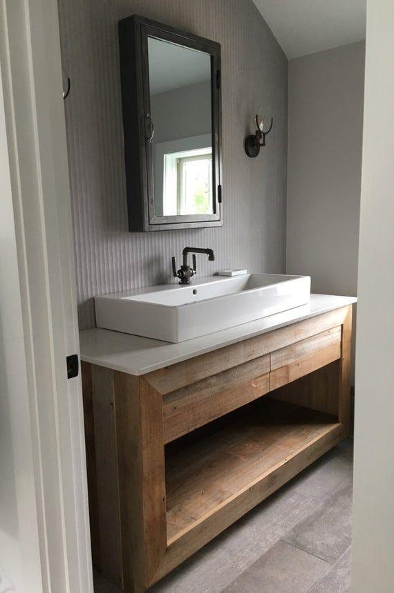 Photo of Rustic Bathroom Vanity – Reclaimed Barn Wood Vanity (Unfinished)   #1337