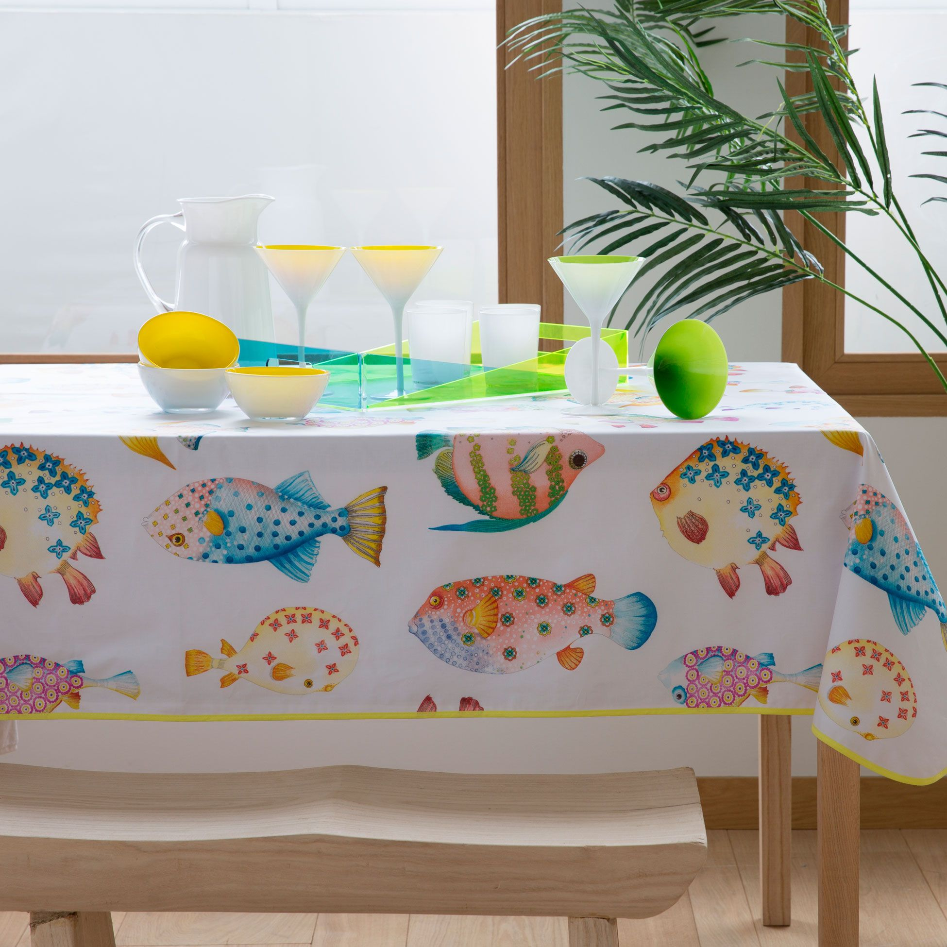 Fish Print Laminated Cotton Tablecloth Tablecloths Napkins
