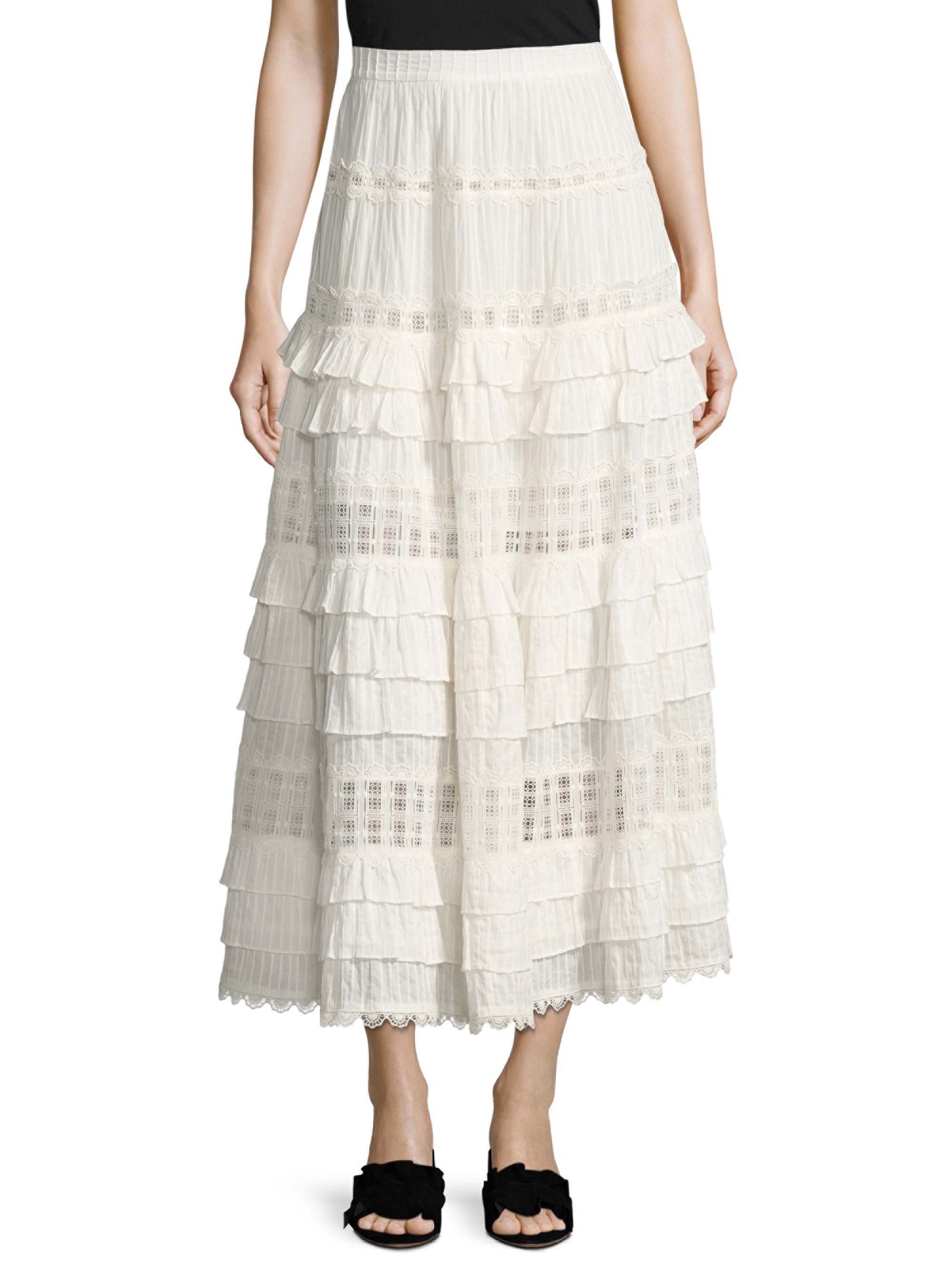 e13a7c54e Layered Frill Maxi Skirt by Zimmermann | Products | White maxi ...