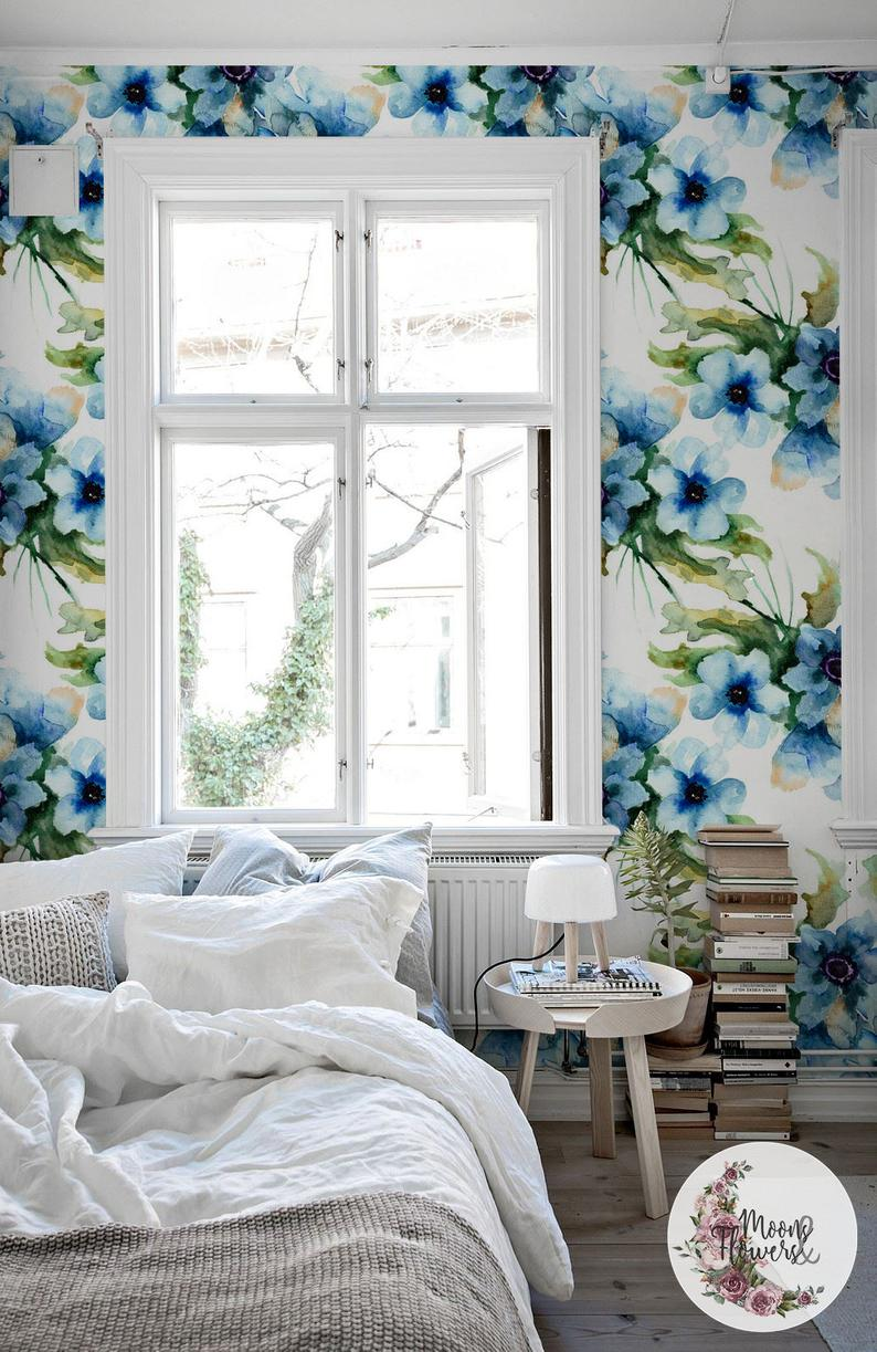 Aquarelle Flowers wall mural, Watercolor removable