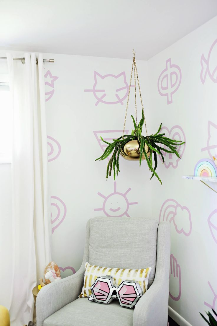 Painted nursery wallpaper DIY