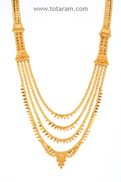 22 Karat Gold Long 4 Lines Necklace Gold Jewelry Indian Wedding