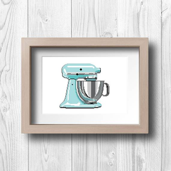 Pixel Kitchen Mixer   Printable Wall Art   Retro Turquoise Kitchenaid Mixer  With A Modern Twist