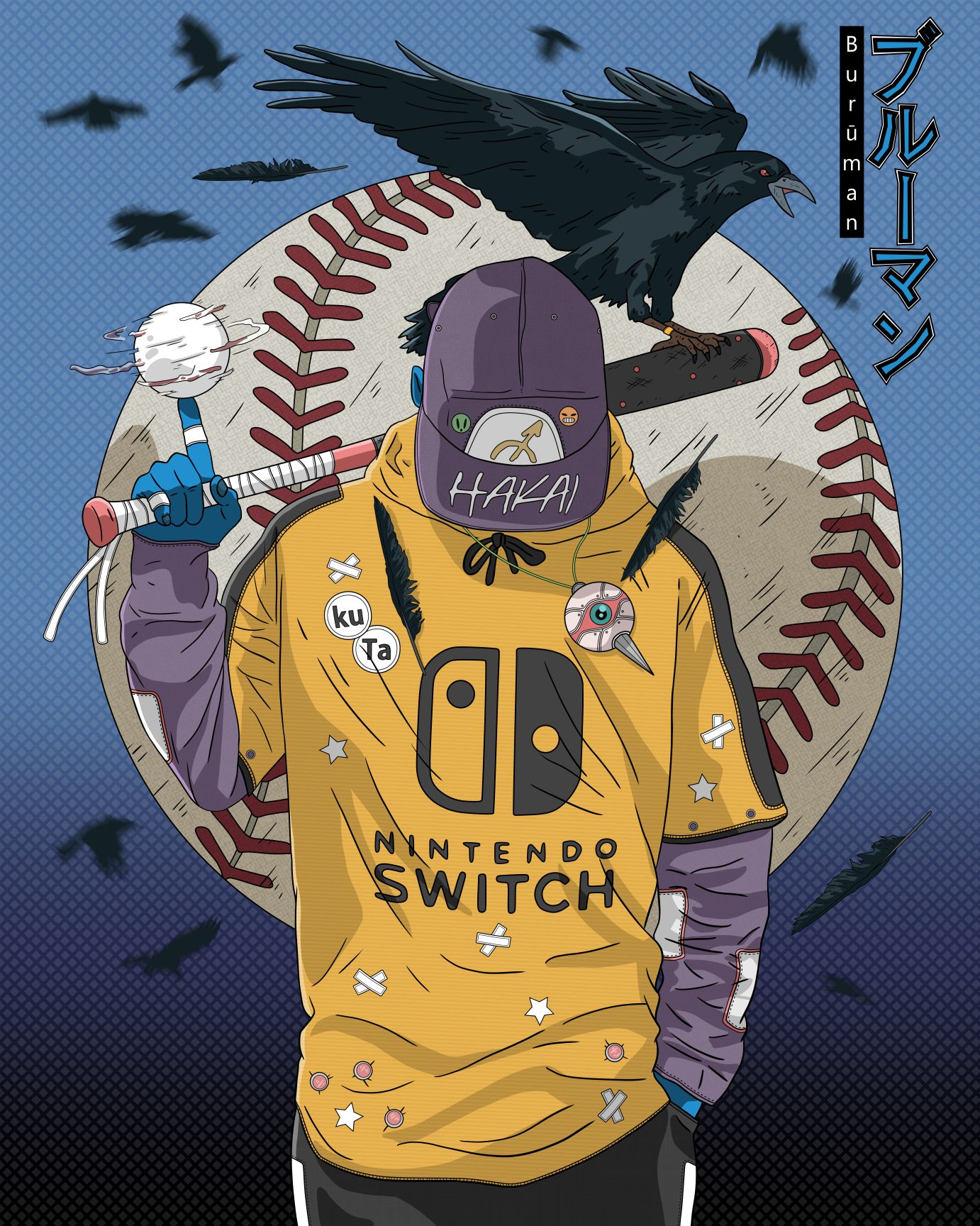 Baseball Player Boy Art Samurai Art Cyberpunk Art