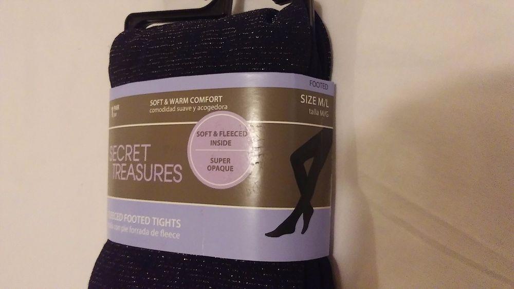 eed8df436 Size M L Secret Treasures Fleeced Footed Tights Jet Black fits 140 - 195  lbs New  SecretTreasures  FleeceTights