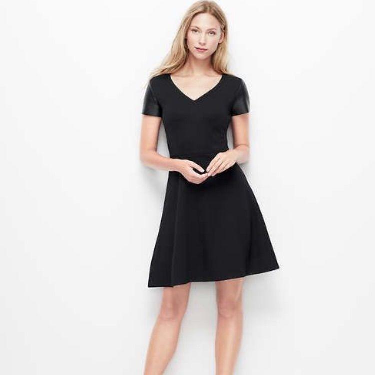 (Ann Taylor) Black V-Neck Ponte Leather Dress