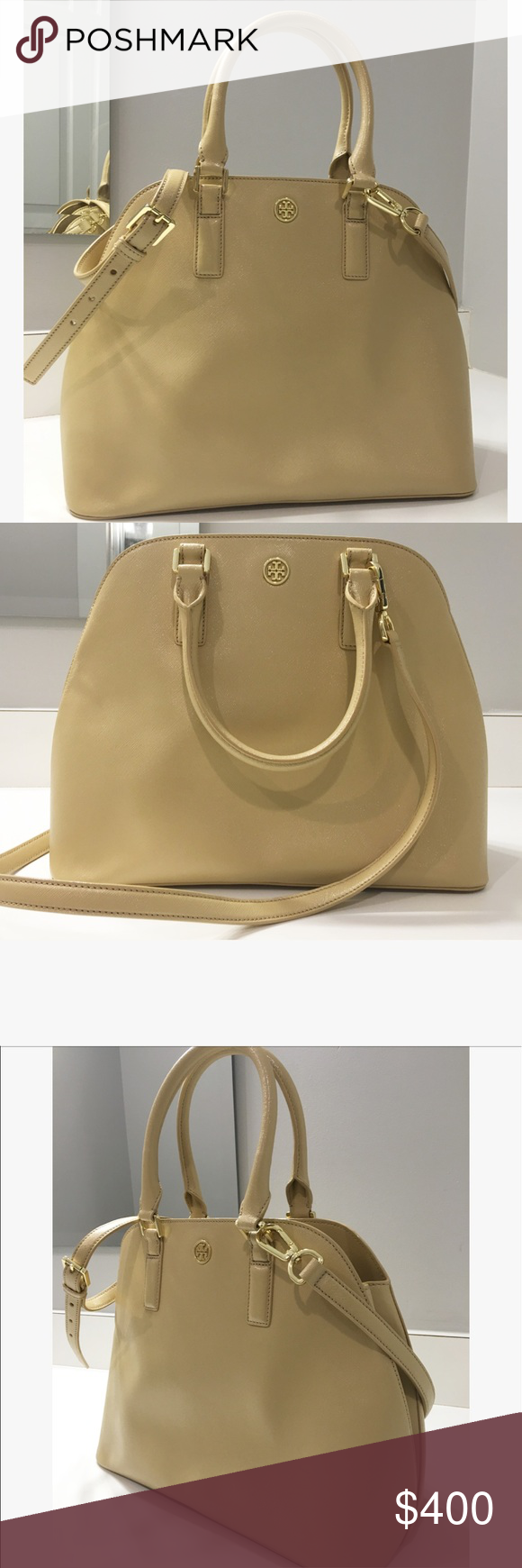 NEW Tory Burch Robinson Satchel Brand New without tags. Gorgeous nude colored Robinson satchel with gold hard wear. Double handles with removable shoulder strap. Tory Burch Bags Satchels