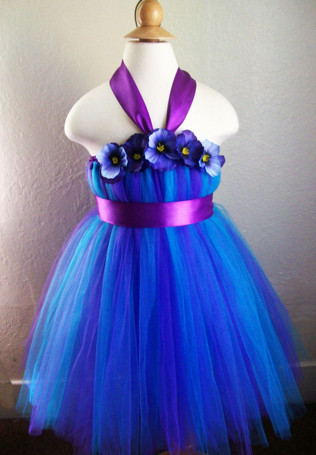 Peacock flower girl dress Purple tutu dress Blue flower girl dress ...