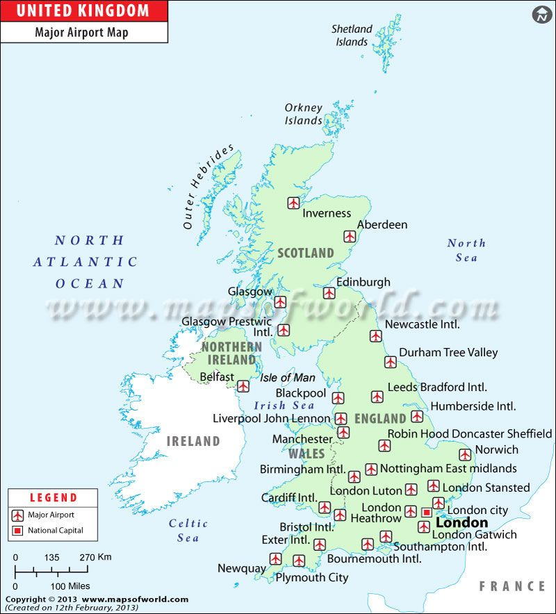 Airports England Map Map of England Airports