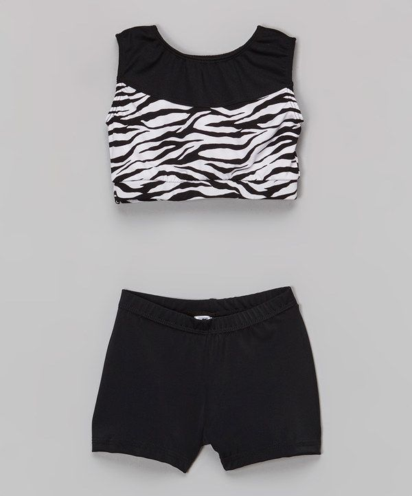 5dcda15ea6 Look at this Niva-Miche Clothes Black   White Zebra Crop Tank   Shorts -  Toddler   Girls on  zulily today!
