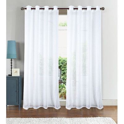 RT Designer's Collection Nile Box Doily Geometric Sheer Grommets Single Curtain Panel Color: