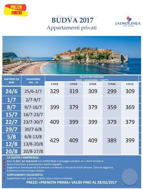 JLAND TRAVEL: PRENOTA PRIMA BUDVA ESTATE 2017 DA € 299 ENTRO IL ...