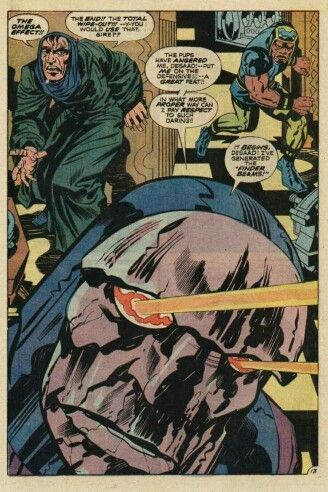 Darkseid New God of All Evil fires his Omega Effect while evil Desaad and Vykin the Black look on