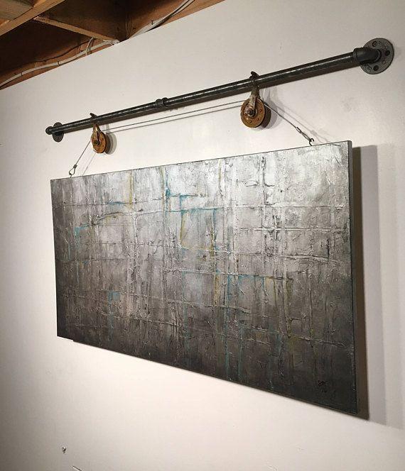 Abstrakte Malerei, Acryl-Wand-Kunst, original-Kunst, Industrie, Geschenk, Wohnzimmer, Wand-Dekor, Jmjartstudio, Silber Geburtstagsgeschenk