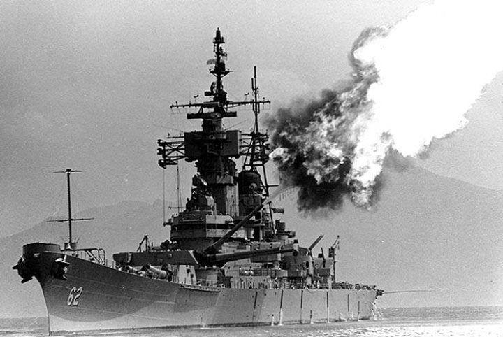 Battleship New Jersey bombarding enemy positions near Tuyho South Vietnam March 1969.
