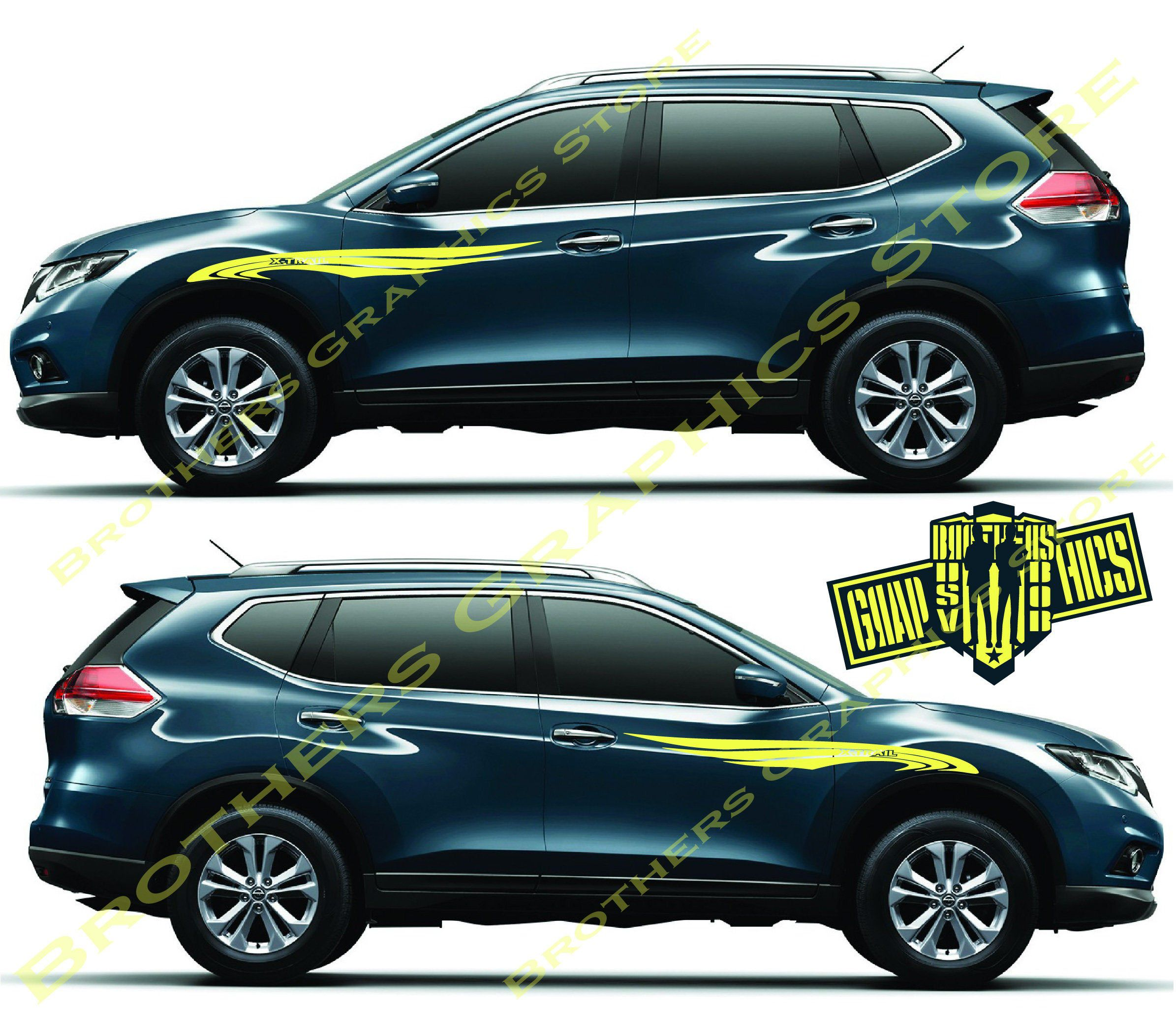 Decal Graphic Sticker Door Sport Stripe Kit Compatible With Nissan X-Trail Wings Decal Graphic Sticker Door Sport Stripe Kit Compatible with Nissan X-Trail Wings Black Things nissan x trail black color