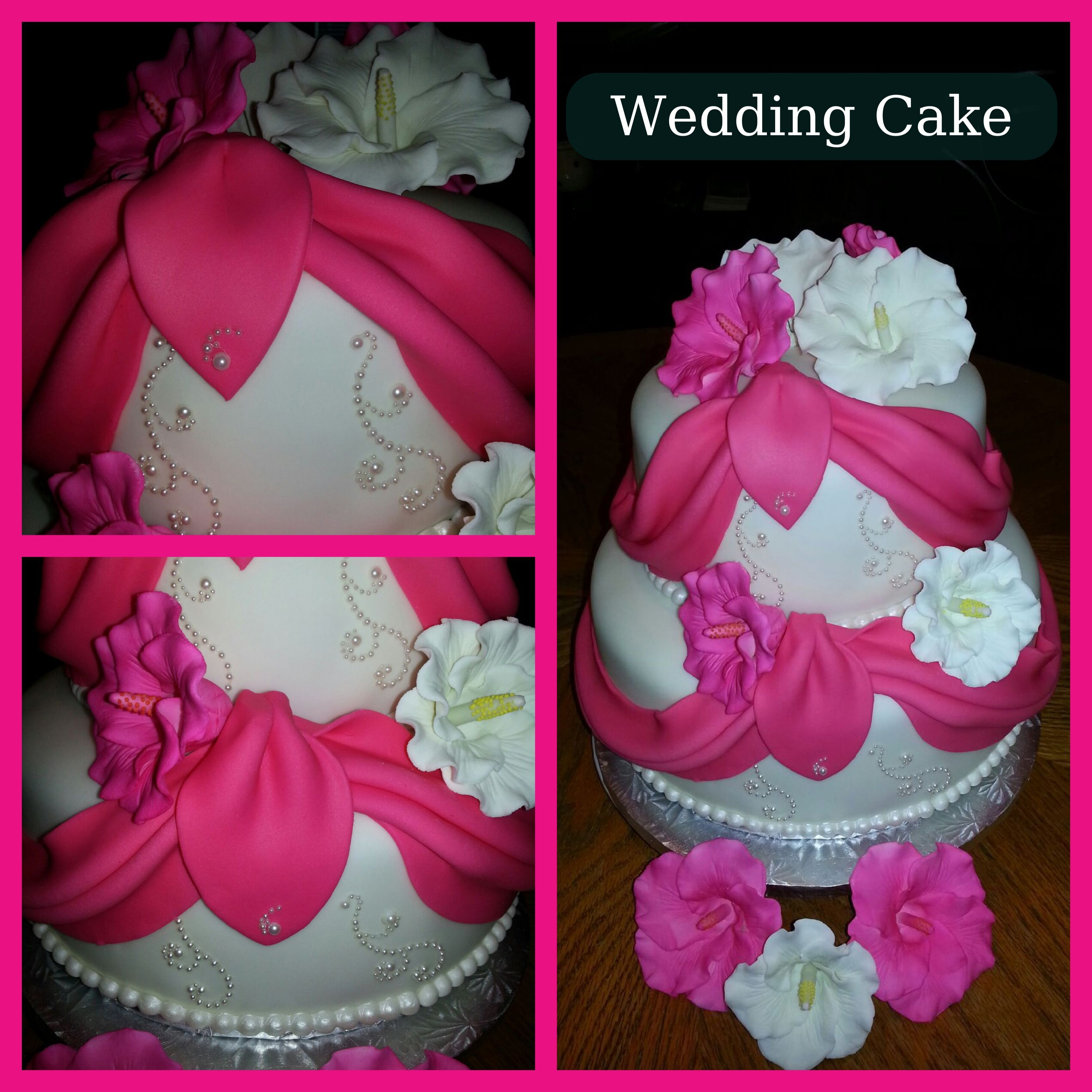 Beautiful Pearl And Draped Fondant Detail And Edible Hibiscus Flower