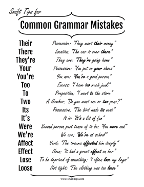 common grammar mistakes examples