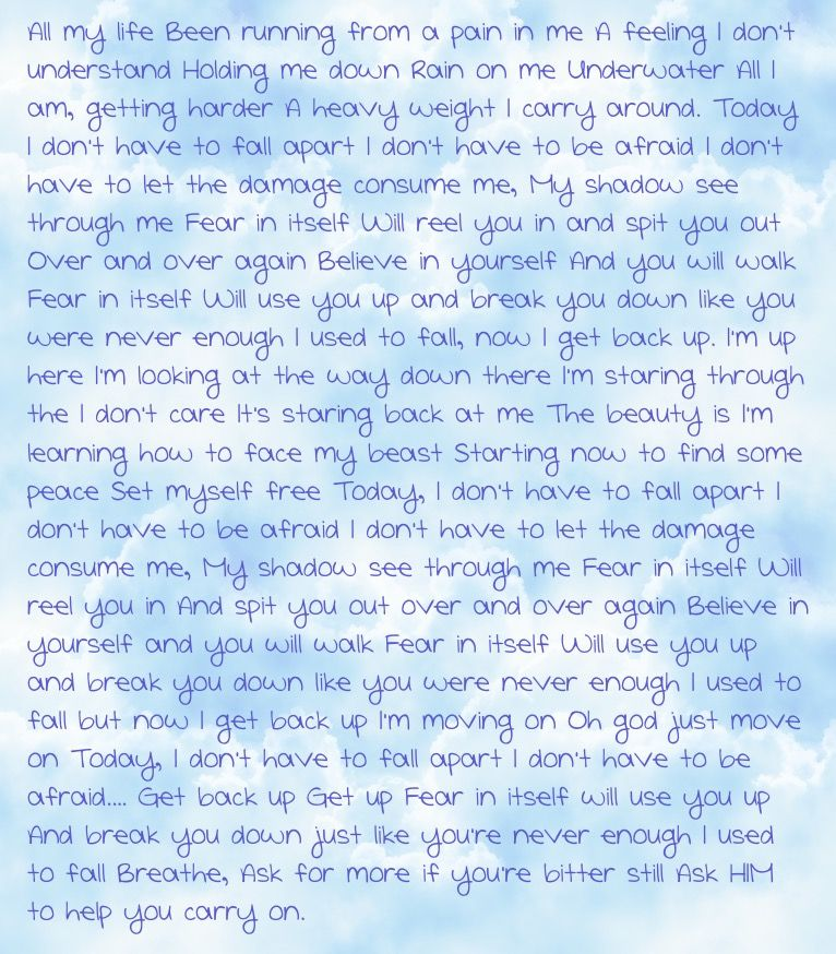 Lyric blue song lyrics : Fear lyrics - Blue October My favorite song! I own nothing, except ...
