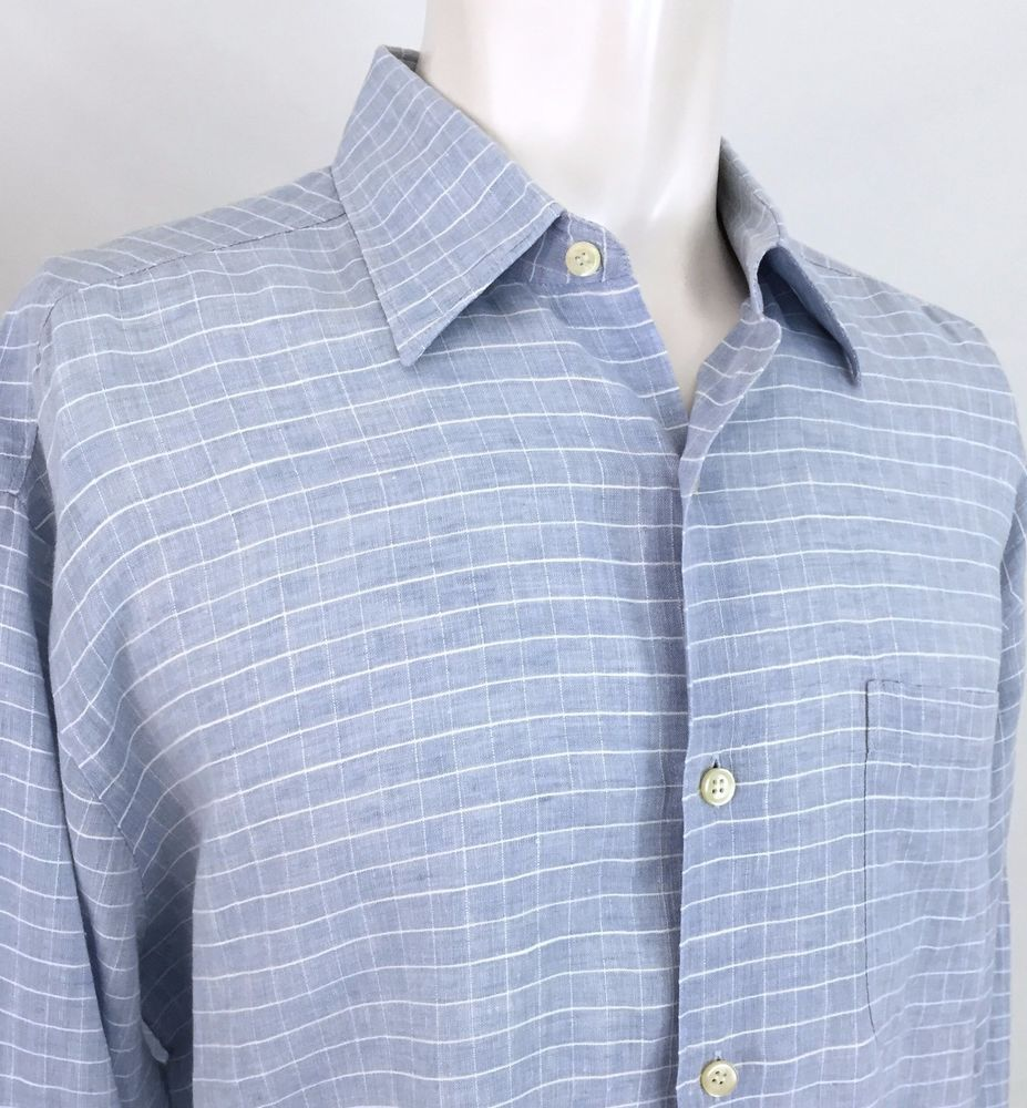 Boss Hugo Boss Light Blue & White Check Linen L/S Casual Dress Shirt Men's