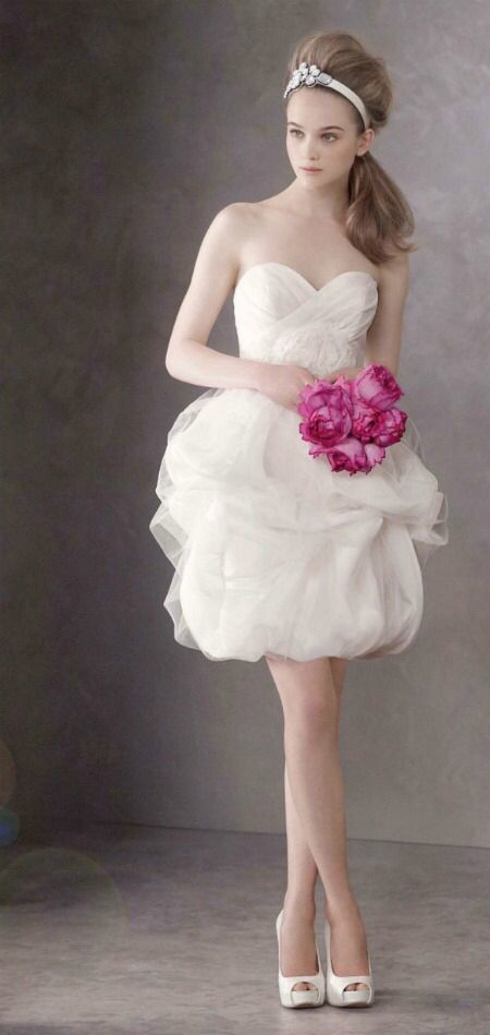 Vera wang short dress. My model is wearing a short dress to resemble this. Changed design from mermaid dress
