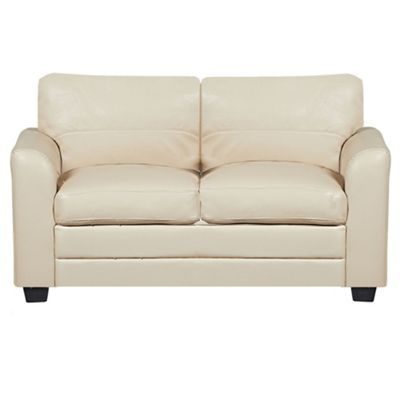 Debenhams cream 39 lola 39 bonded leather sofa at debenhams for Cream leather sofa