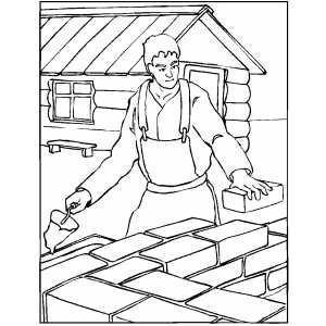 Worker Building Wall For House Coloring Page House Colouring Pages Wall Building