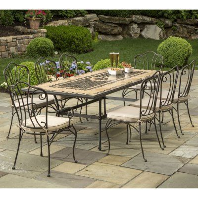 Alfresco Home Loretto Indoor Outdoor Marble Mosaic 8-Seat