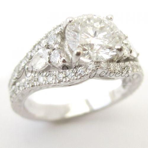 Round Cut Antique Style Diamond Engagement Ring KR122