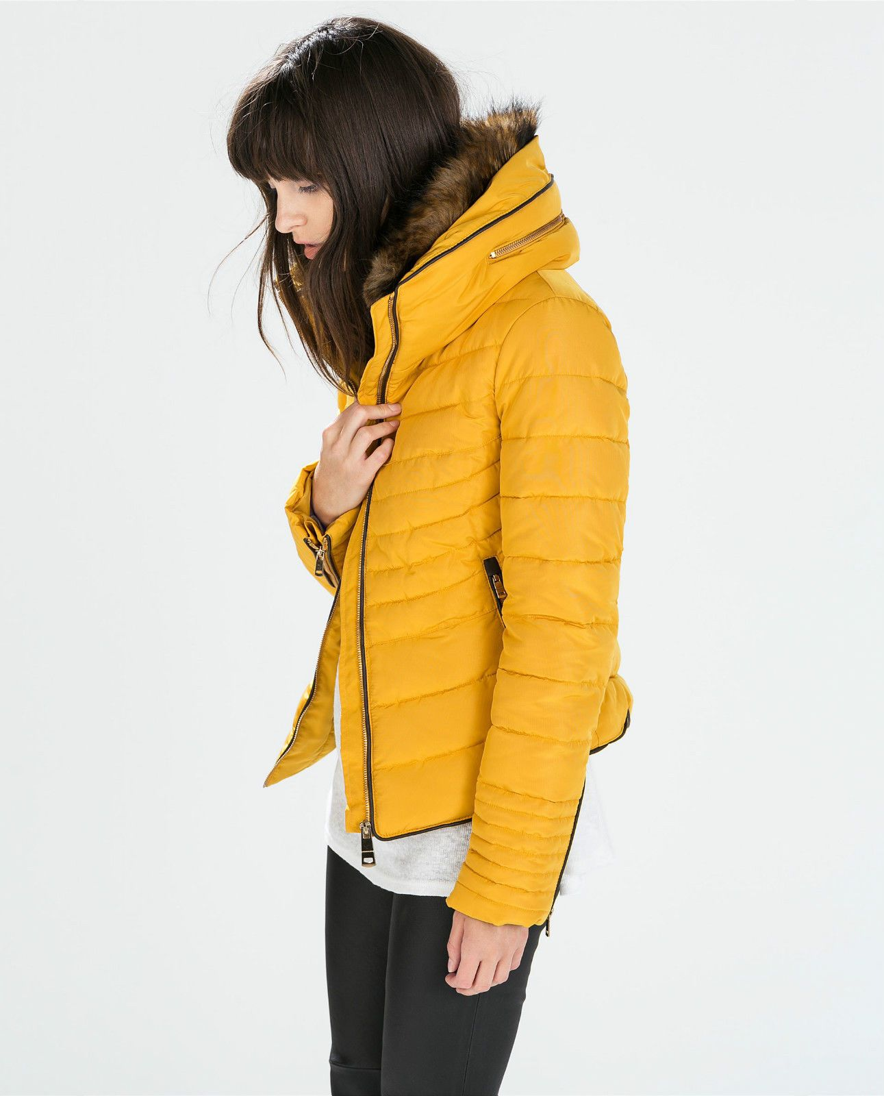 Zara mustard yellow quilted padded winter jacket fur collar size l ...