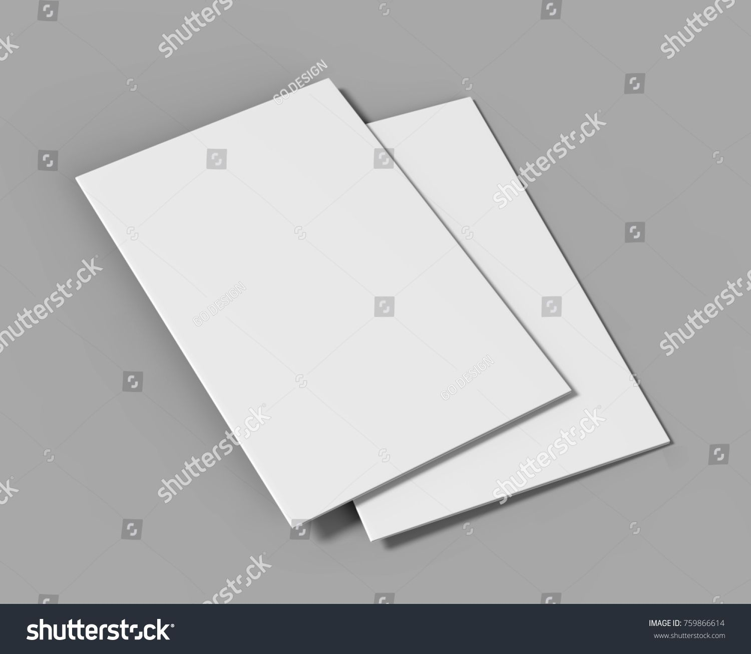 White Template | A3 Half Fold Brochure Blank White Template For Mock Up And
