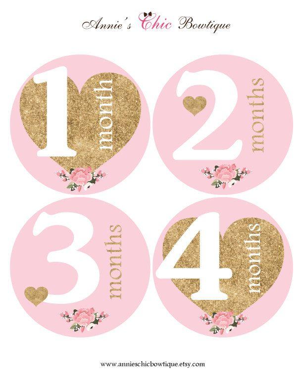 gold glitter baby sticker pink month sticker milestone stickers