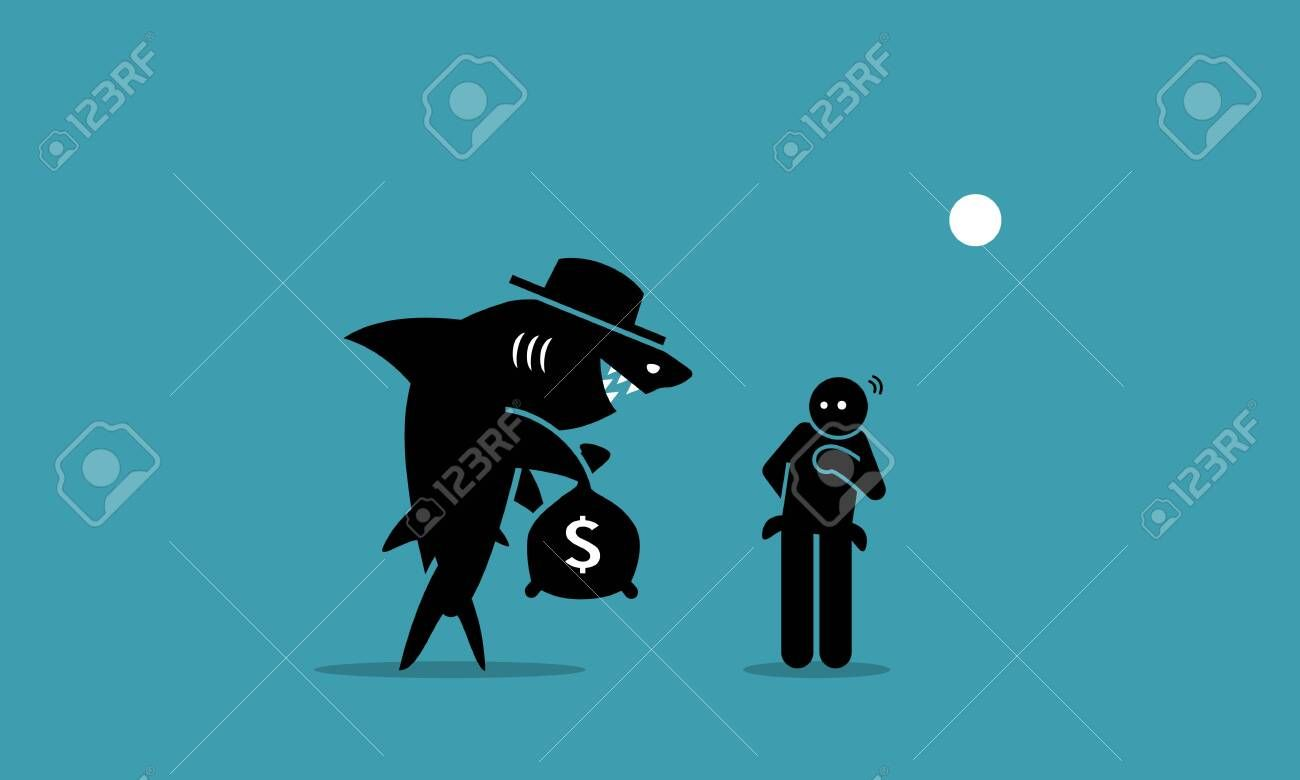 Loan Shark And A Poor Man Vector Artwork Depicts A Loan Shark Trying To Lend Money To A Person That Has Financial Difficulties In 2020 Vector Artwork Loan Shark Shark