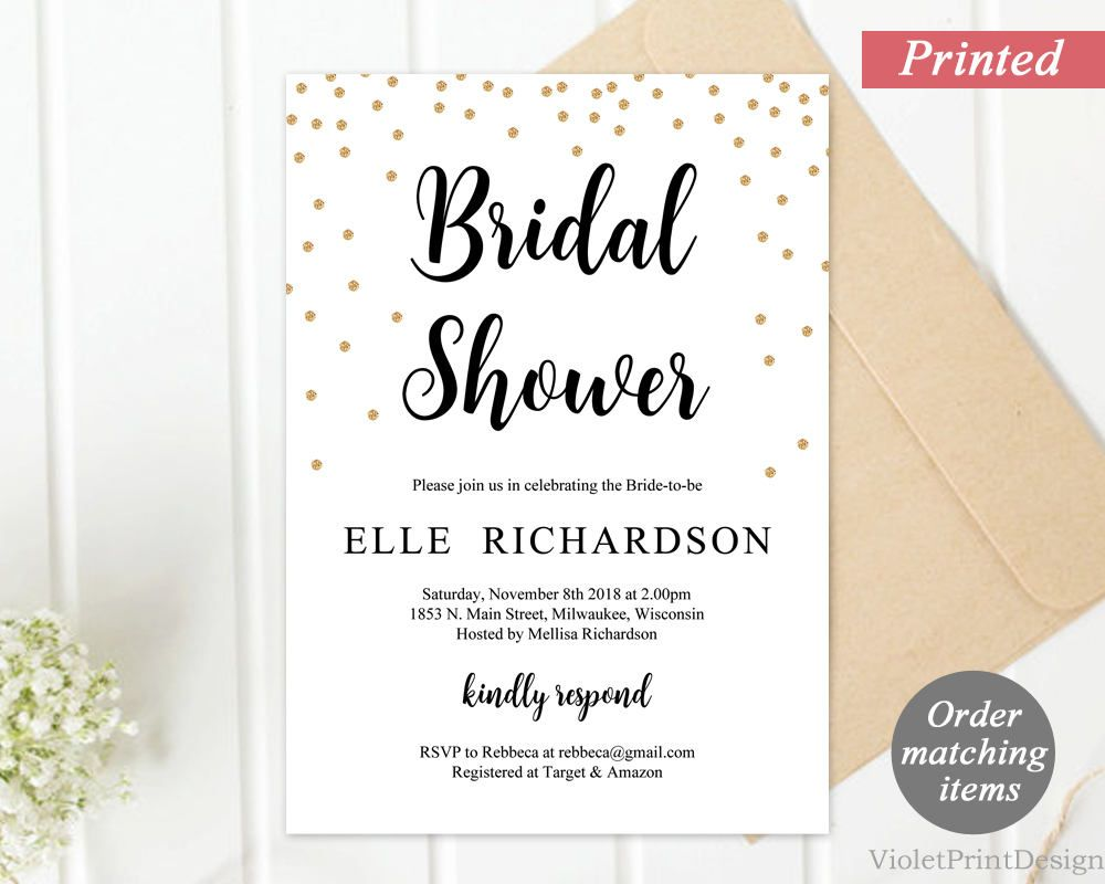 Printed Gold Confetty Bridal Shower Invitation. Modern Calligraphy ...
