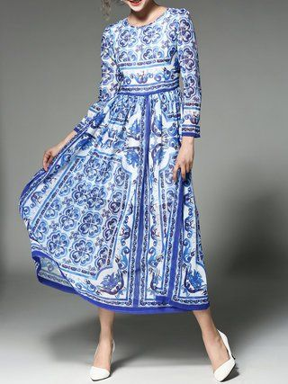 Blue Swing Floral Crew Neck Long Sleeve Maxi Dress