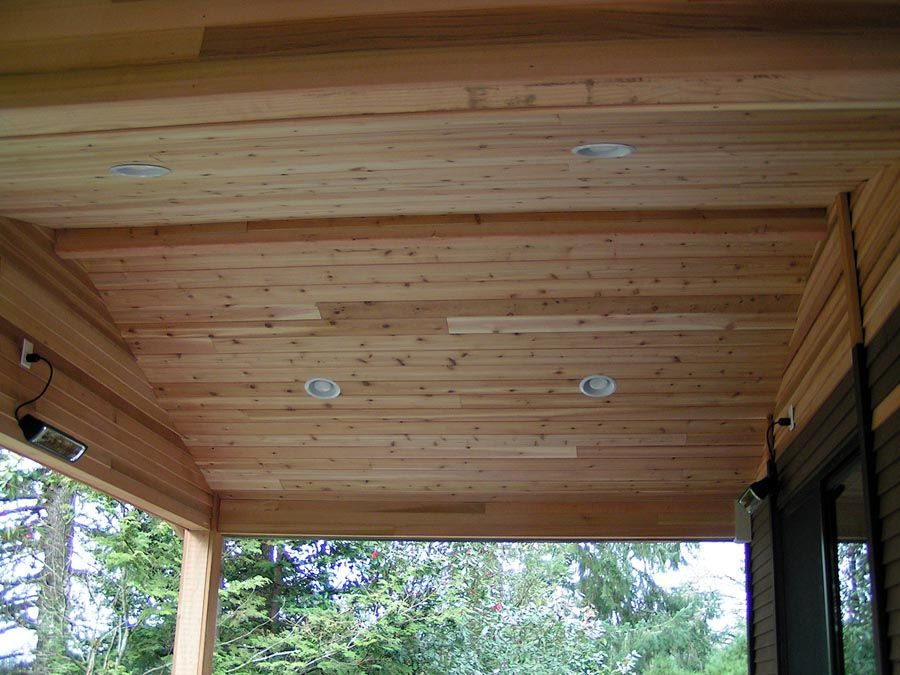 Inspiring Patio Wall Cover Design With Knotty Pine Wood .