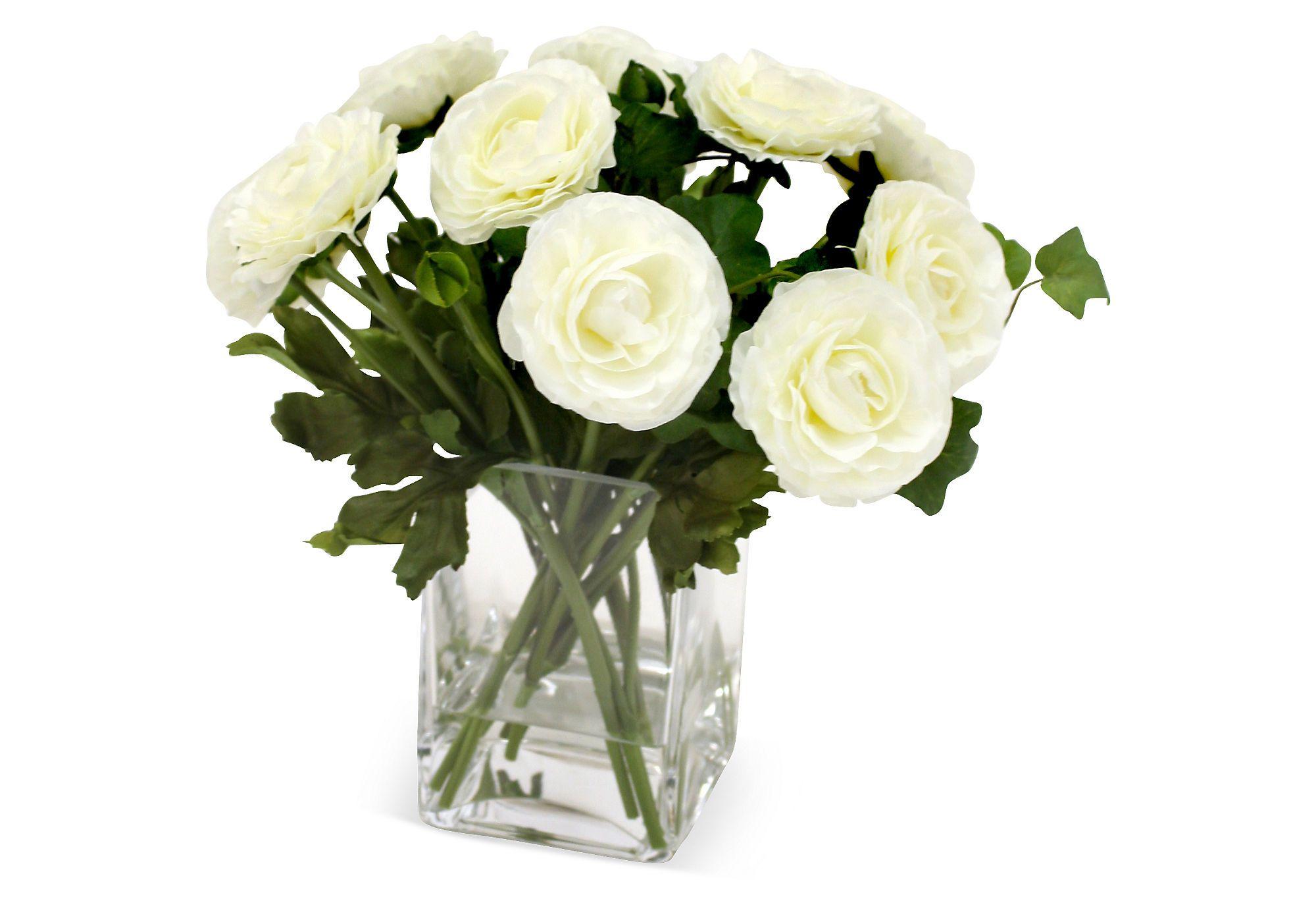 "12"" Ranunculus in Vase, Faux | The Flower Store | One Kings Lane"