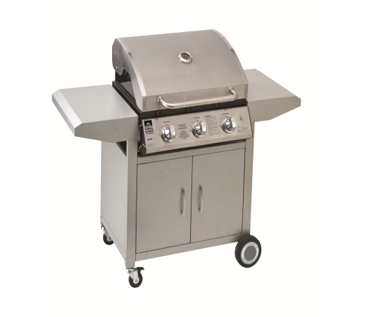 Landmann Stainless Steel Chef 3 Burner Gas Wagon Bbq Grill With Side Burner 299 99 Bbq Grill Grilling Gas