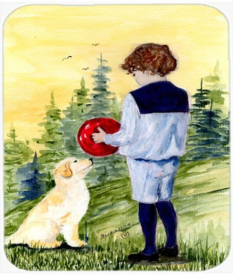 Little Boy with his Golden Retriever Mouse Pad, Hot Pad or Trivet