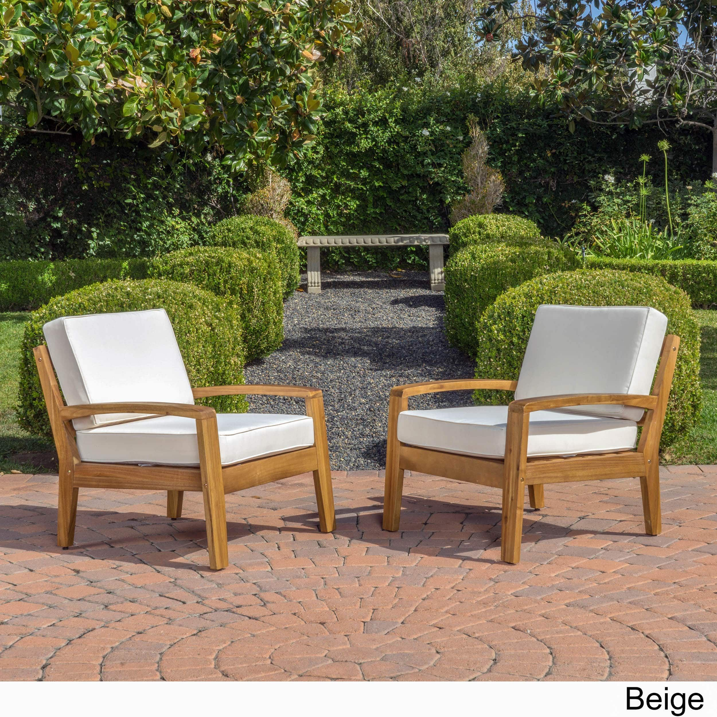 Christopher Knight Patio Furniture.Grenada Outdoor Wooden Club Chair W Cushions Set Of 2 By