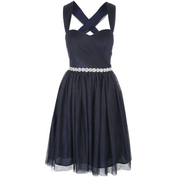 Jane Norman Short Mesh Prom Dress 89 Liked On Polyvore Featuring Dresses Navy Women Nav Navy Ball Dresses Short Cocktail Prom Dresses Dresses