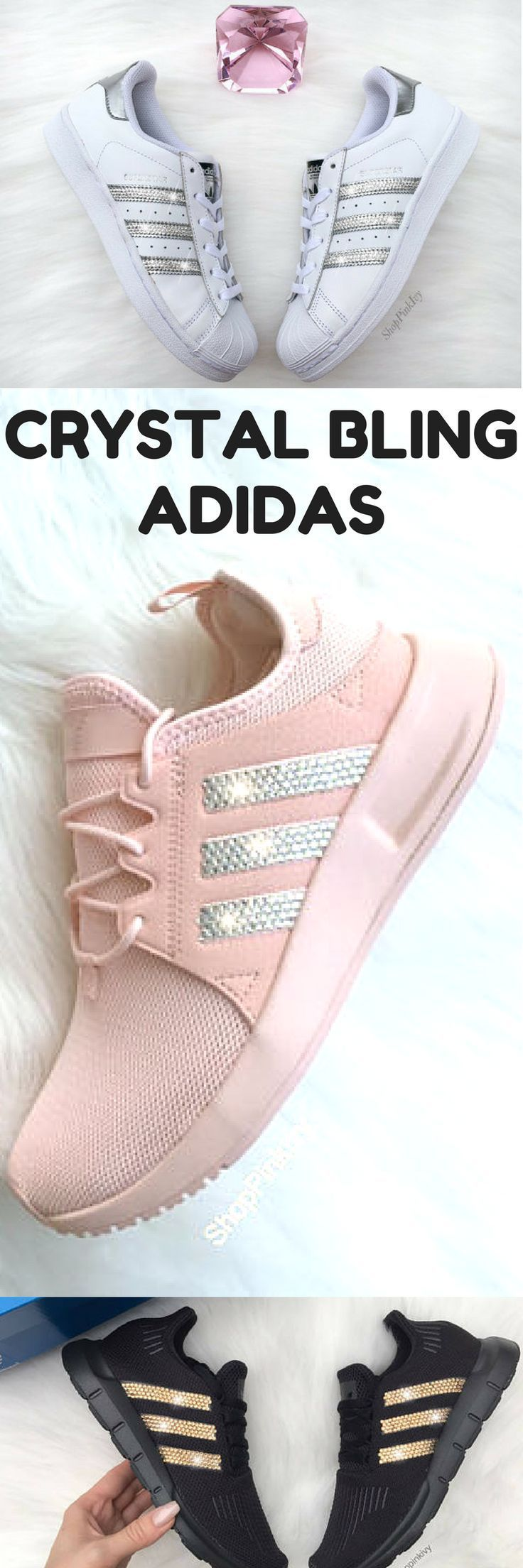 wholesale dealer 9e54a 59404 Custom blinged Adidas with swarovski crystals  bling  shoes  adidas   sneakers  pumpedupkicks  promoted  etsy