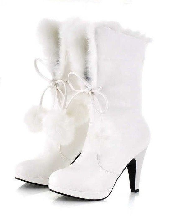 Faux Fur 3 Inch High Heel Boot White
